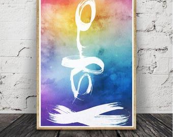 art collec moderne, impression abstraite, aquarelle, bleu marine, Brush Stroke, imprimable en téléchargement numérique, affiche grand format
