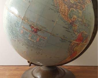 """Vintage (c. 1948 - 1953) Replogle 12"""" Reference Globe"""