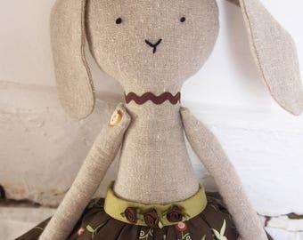 Rabbit Handmade Doll - cloth bunny doll, stuffed toy, plush animal, cloth doll, Handmade Linen Dolls, decorative toy, baby or birthday gift.