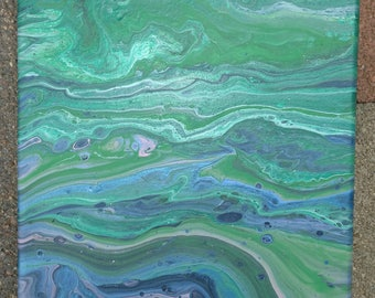 "Beautiful Fluid Acrylic Abstract Painting ""Jade"" 8""X10"""