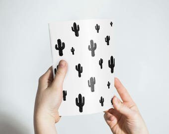 Cactus Notebook, Black and White Notebook, Notepad, sketchbook, writing journal, journal, black notebook,shoes, gift, blank lined, unlined