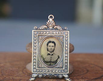 French Brass Picture Frame Pendant with Antique Tintype