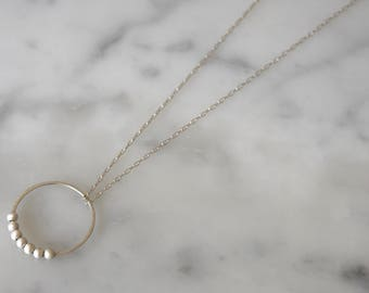 Handmade sterling silver, hoop and silver beads pendant necklace - can be customised