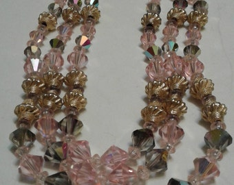 Pink and Aurora Crystal Triple Strand Necklace