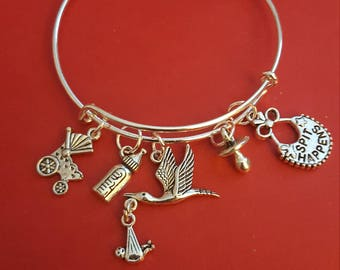 Mommy To Be Themed Charm Bracelet