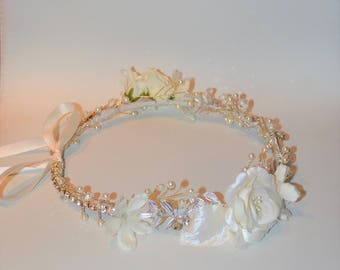 Bridal headpiece, Bridal Halo Hairpiece, Wedding flower halo, White flower crown, ivory crown, flower headband, bridal Hairpiece