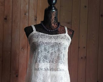 TOP ivory CALAIS lace - handmade - to order from 34/36 to 46