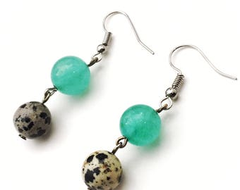 Aventurine and Damatian Jasper Dangle Earrings - Green Earrings - Natural Stone Earrings - Summer Earrings - Casual Earrings - Gift For Her