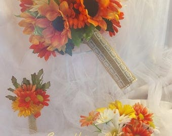 Beautiful silk sunflower bouquet with a matching boutonniere.