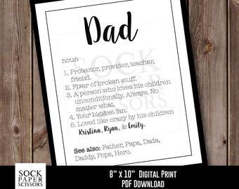 Custom Dad Print Printable Wall Art, Typography Printable Dad Definition, printable dad gift, gift for dad pdf Digital Download, Sku-CHO108
