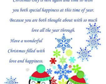 Son & Fiancee Christmas Card cute