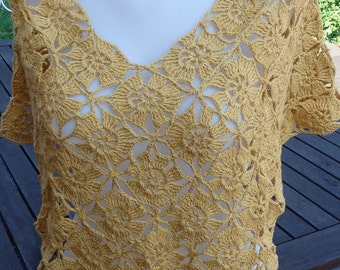 Short yellow Poncho, Crochet Poncho for Summer, Cotton