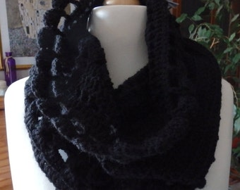 Crocheted Snood, scarf,  black acrylic yarn