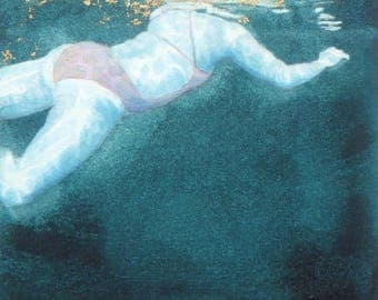 Original Art - Mini Swimmer no.14 - Painting in gouache, watercolour, gold leaf. Open water swimmer, diver. Artwork by Nancy Farmer