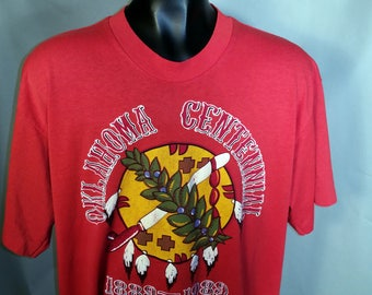 1989 Oklahoma State Seal Centennial Red Graphic Tee Sz XL 80s Okie OK USA Midwest Southern 1980s Retro Super Soft Polycotton Cowboys