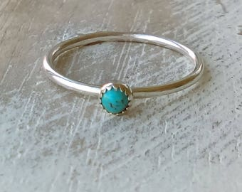Turquoise Ring, Turquoise Stacker, Stackable Ring, Serrated Bezel, Hammered Texture, Stacking Ring, Silver Ring, Native American Jewelry