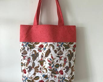 "Handmade tote bag, carry all bag for knitting project 13.5"" x 11"" x 3.5"" *Batik Paisley*"
