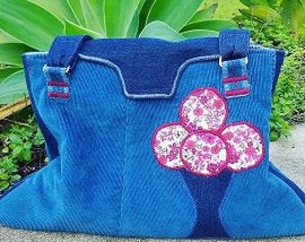 Tote bag, Corderoy, Denim, Cherry Blossom, applique, Hand made, Made in Australia,