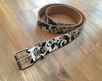 Genuine Leather Rock Rebel Trust No One Black and White Tattoo Art Leather Belt