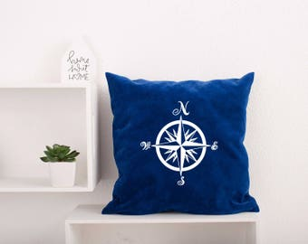 Compass Pillow Cover Nautical Bedding Pillowcase Pillow Cover. Compass Rose Pillowcase. Decorative Pillow. Navigate Pillow Covers #20