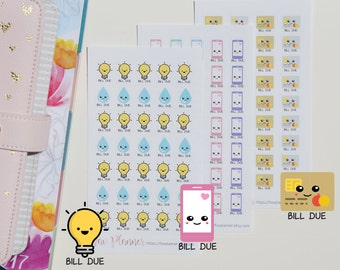 35+ Kawaii Bill Due - Electricity & Water, Phone, Credit Card - Planner Stickers for all planners. Cute power | lights | mobile