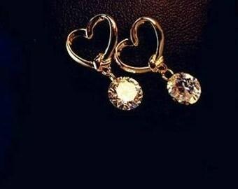 Gold Heart Earrings,Gold Heart Stud Earrings