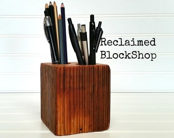 Reclaimed Wood Desk Organizer, Rustic Pencil Caddy, Barnwood Pen Holder,  Wood Office Organizer