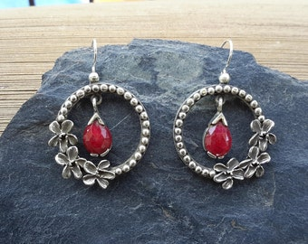 No.88 Ruby and Wood Violet Flower Earrings