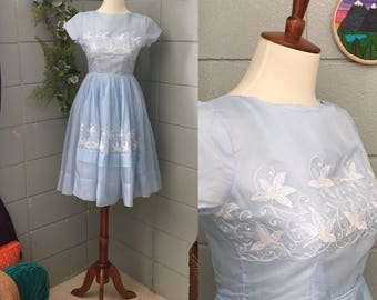 1950's Semitee N Embroidered Silk Fit and Flare Dress