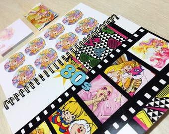 Lady Lovely Locks Deluxe Stationery Set (80s Notebook, Stickers, Magnet & Post-Its) Lady Lovelylocks and the PixieTails 1980s cartoon