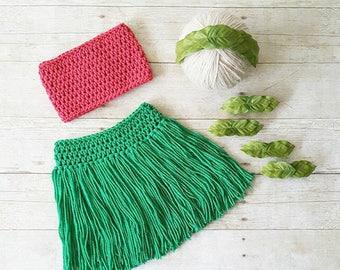 Crochet Lilo Hawaiian Hawaii Hula Dancer Girl Grass Skirt Tube Top Leaf Headband Wristlet Infant Newborn Baby Photography Prop Shower Gift