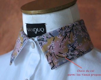 Blouse-collar interchangeable-3 collars-3 styles-shirt-woman-removable-choose your fabric collar