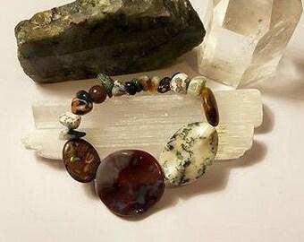 Jasper & Agate Crystal Stretch Bracelet small