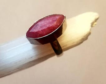 Raw Ruby Ring Natural Ruby Ring Crystal Ruby Ring Ring Silver Plated size 7 1/2 statement ring