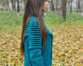 Knitted women exclusive sweater handmade work