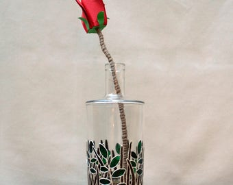 Red origami rose with hand painted bottle