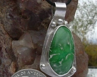 Lucin Variscite Sterling Silver OOAK Statement Necklace Green and White Statement Jewelry 010G