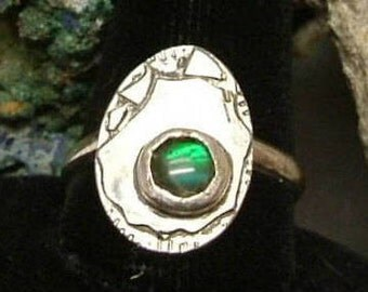 Ammolite Ring Sterling Silver Size 11 Utah Gem Fossil Boho Statement Ring Statement Jewelry OOAK Green Blue Fire  221G