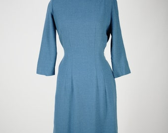 Vintage Henry Rosenfield Secretary Wiggle Dress 1950s 1960s MCM Mid Century Blue Plaid Pinup