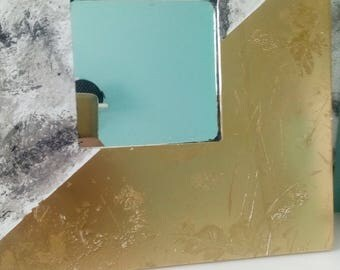 Marble print and gold texture leaf print mirror