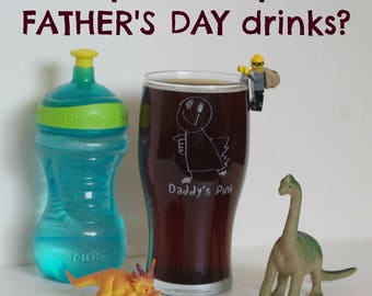 Pint Glass with your child's drawing on