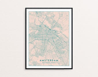 Amsterdam Blush Pink City Map Print, Clean Contemporary poster fit for Ikea frame 50x70cm, gift art him her, Anniversary personalized