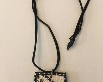 Polymer Clay Necklace - Black and White