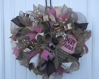 Ice cream cone deco mesh wreath, ruffle wreath, deco mesh wreath, heart shaped wreath, wreath,