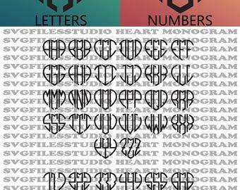 Heart Monogram Font SVG, Interlocking vine monogram font svg, heart font, SVG Fonts, Alphabet, Vinyl Decal SVG files for Silhouette, Cricut