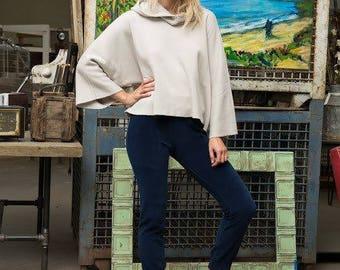 Oversized Cropped Turtleneck Sweatshirt