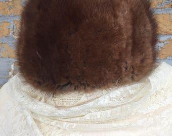 1950's Vintage Brown Mink Hat