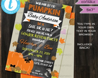 Pumpkin Fall Gender Reveal Invitation - Pumpkin Invite- He or She Orange- Fall- Chalkboard- Printable Personalized 5x7 INSTANT Self-EDITABLE