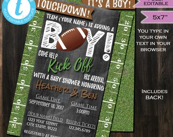 Football Baby Shower Invitation Baby Sprinkle Baby Boy Invite Touchdown Grass Chalkboard Template Custom Printable INSTANT Self EDITABLE 5x7