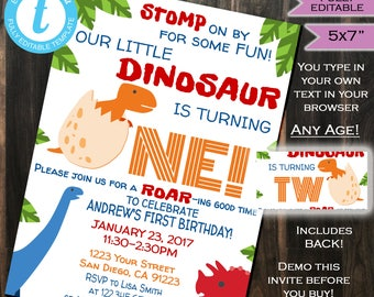Dinosaur Birthday Invitation - Dino Invite - Any Age One Two - Boy Gender Neutral Invite Template Custom Printable INSTANT Self EDITABLE 5x7